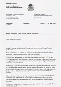 Antwoord van Minister Vandeput